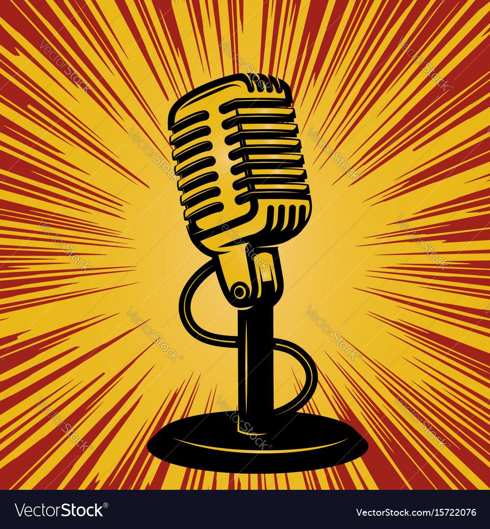 Retro microphone on vintage background design