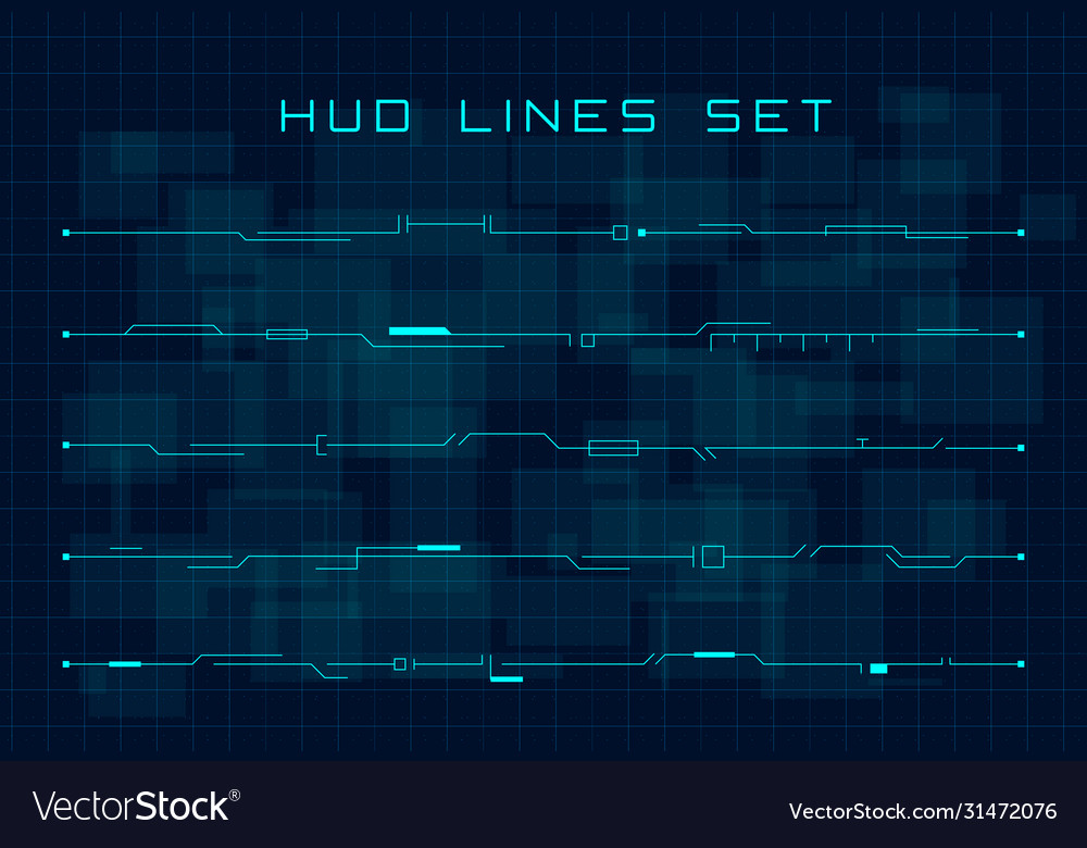 Set blue hud futuristic header and footer