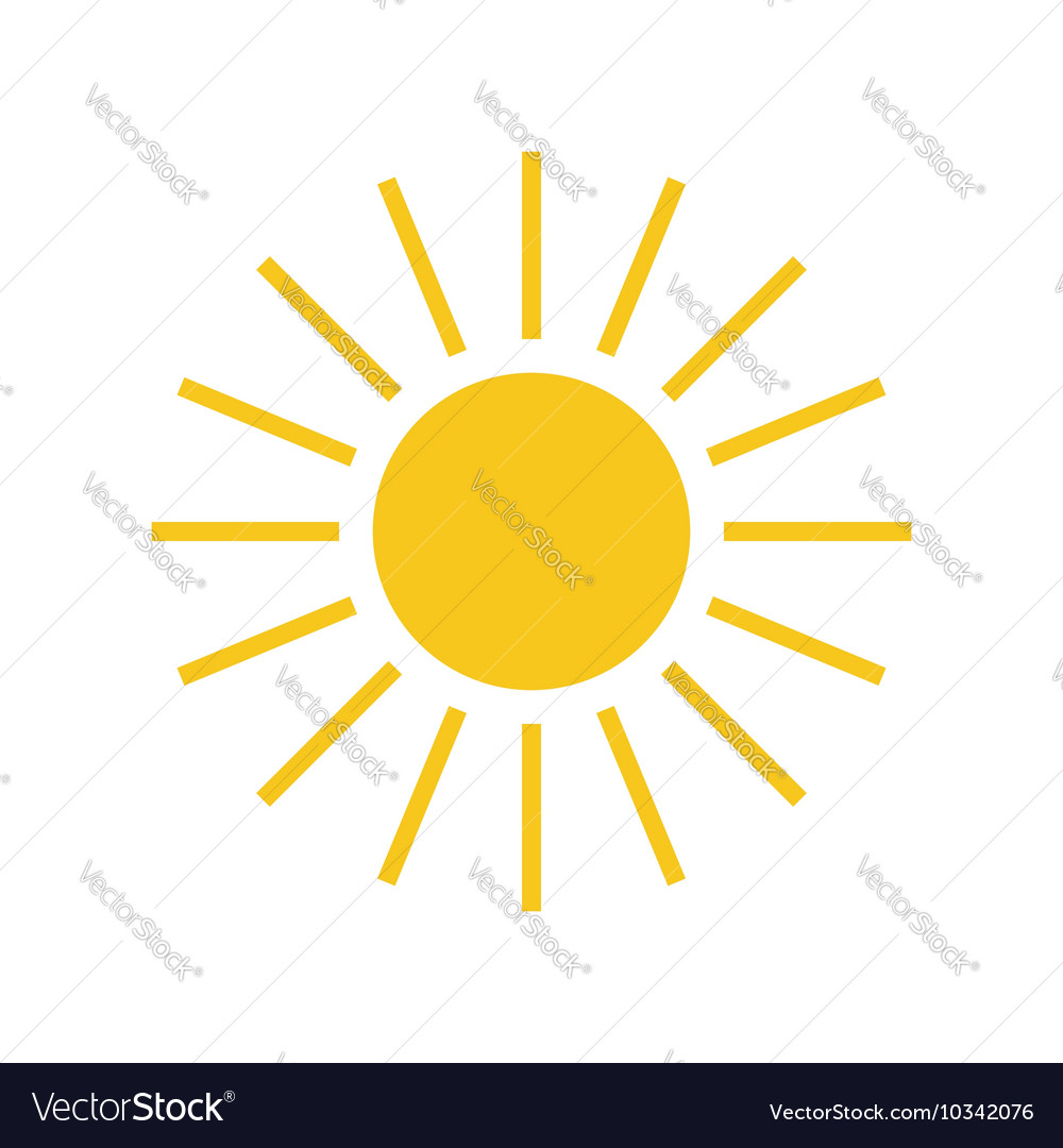 Sun icon Light sign with sunbeams yellow element
