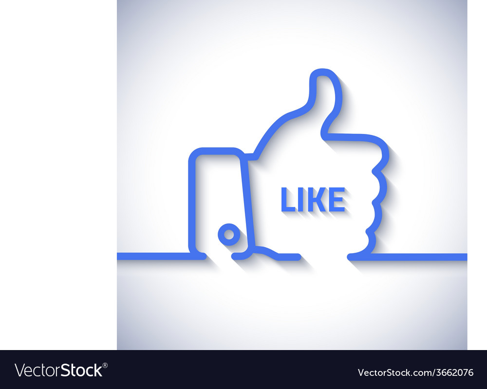 Thumb up icon with long cool shadow in line style