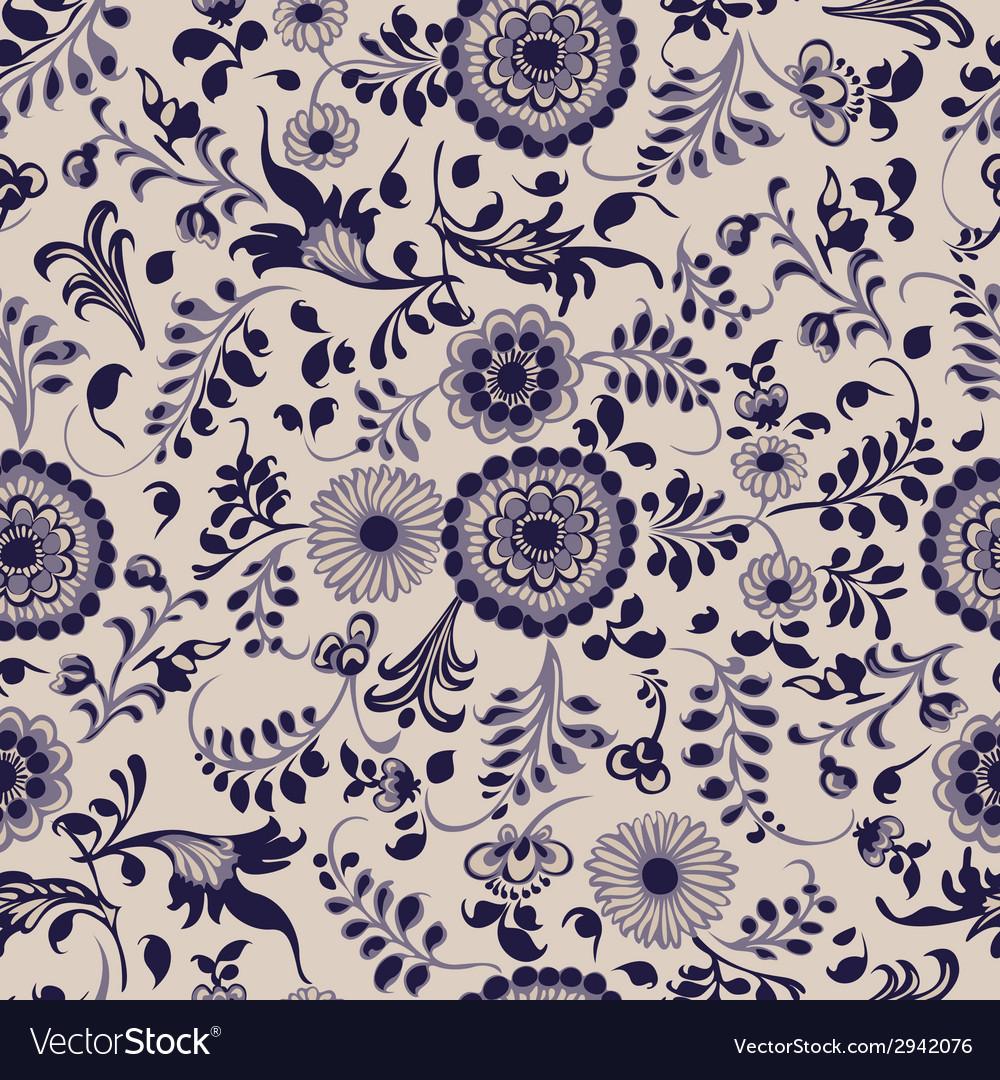 Vintage seamless floral pattern gzhel