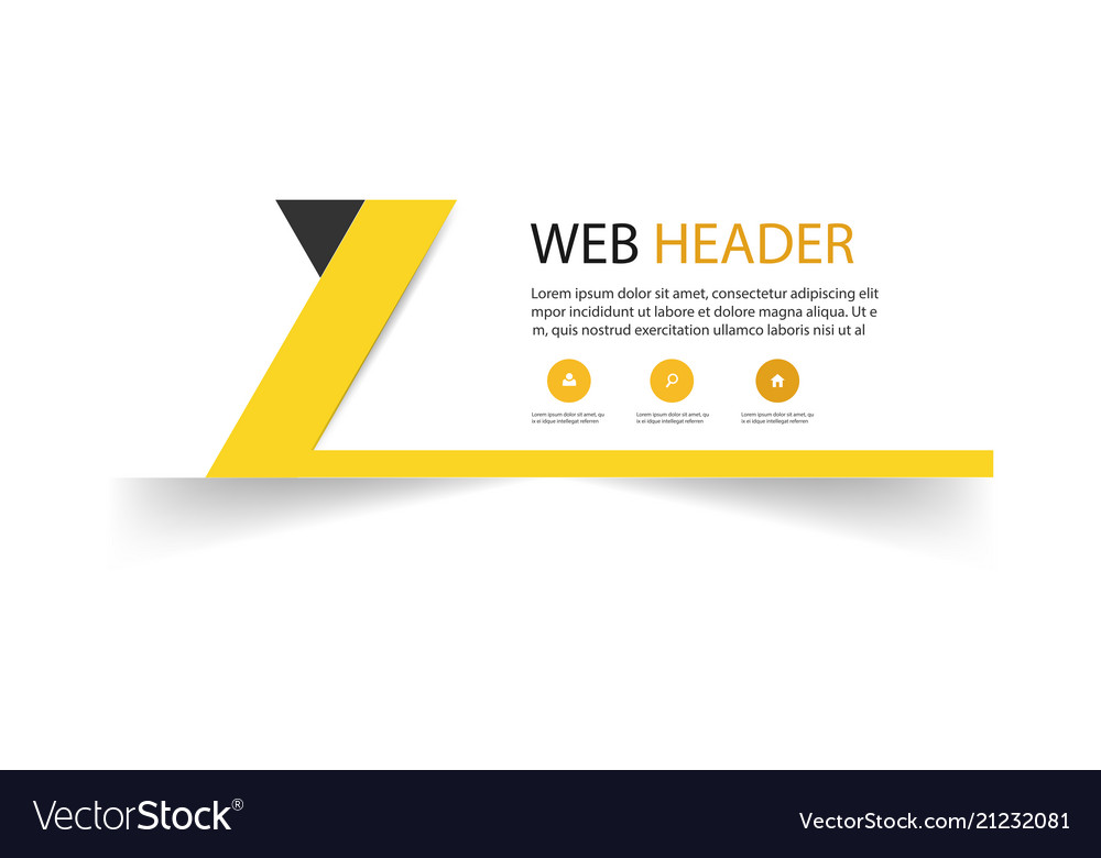 Abstract web header design template yellow backgro