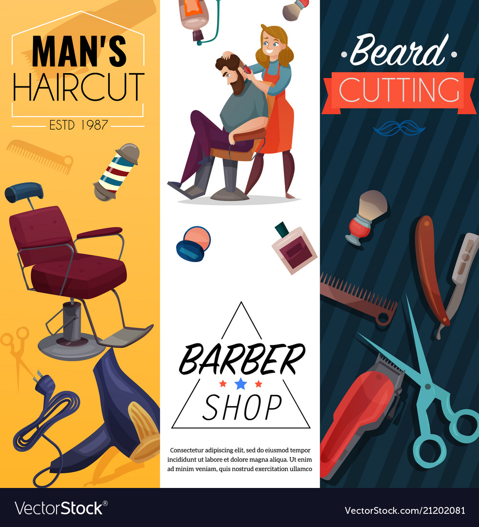 Barber Shop Cartoon Banners Royalty Free Vector Image