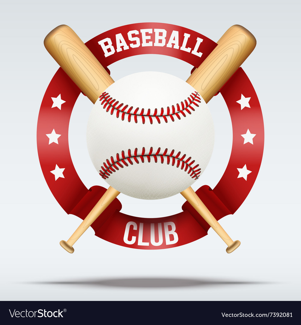 Baseball ball and wooden bats with ribbons vector image