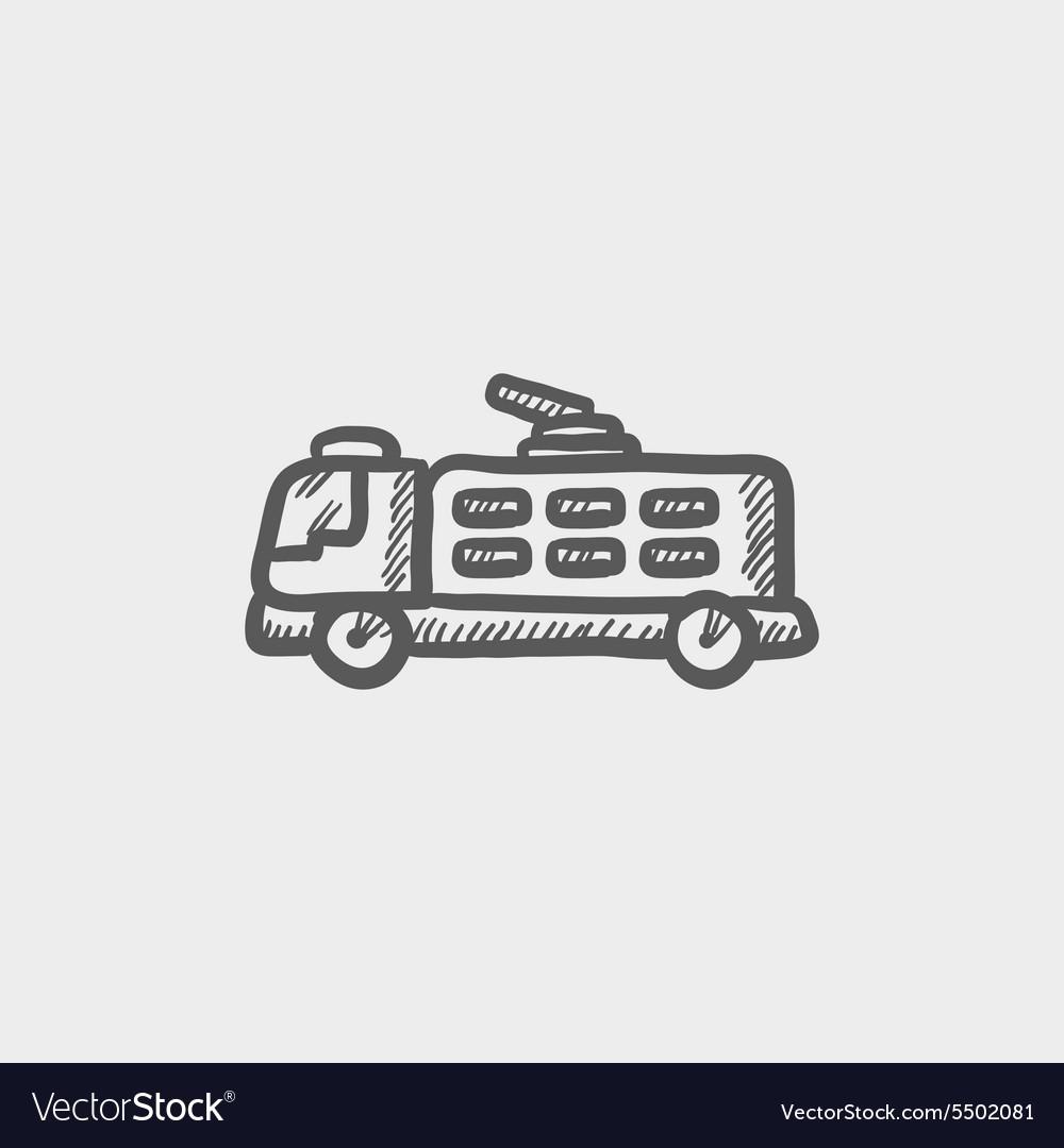 Fire truck sketch icon