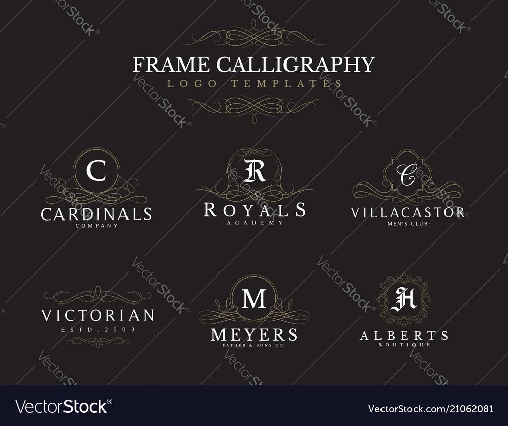 Frame decoration logos templates set