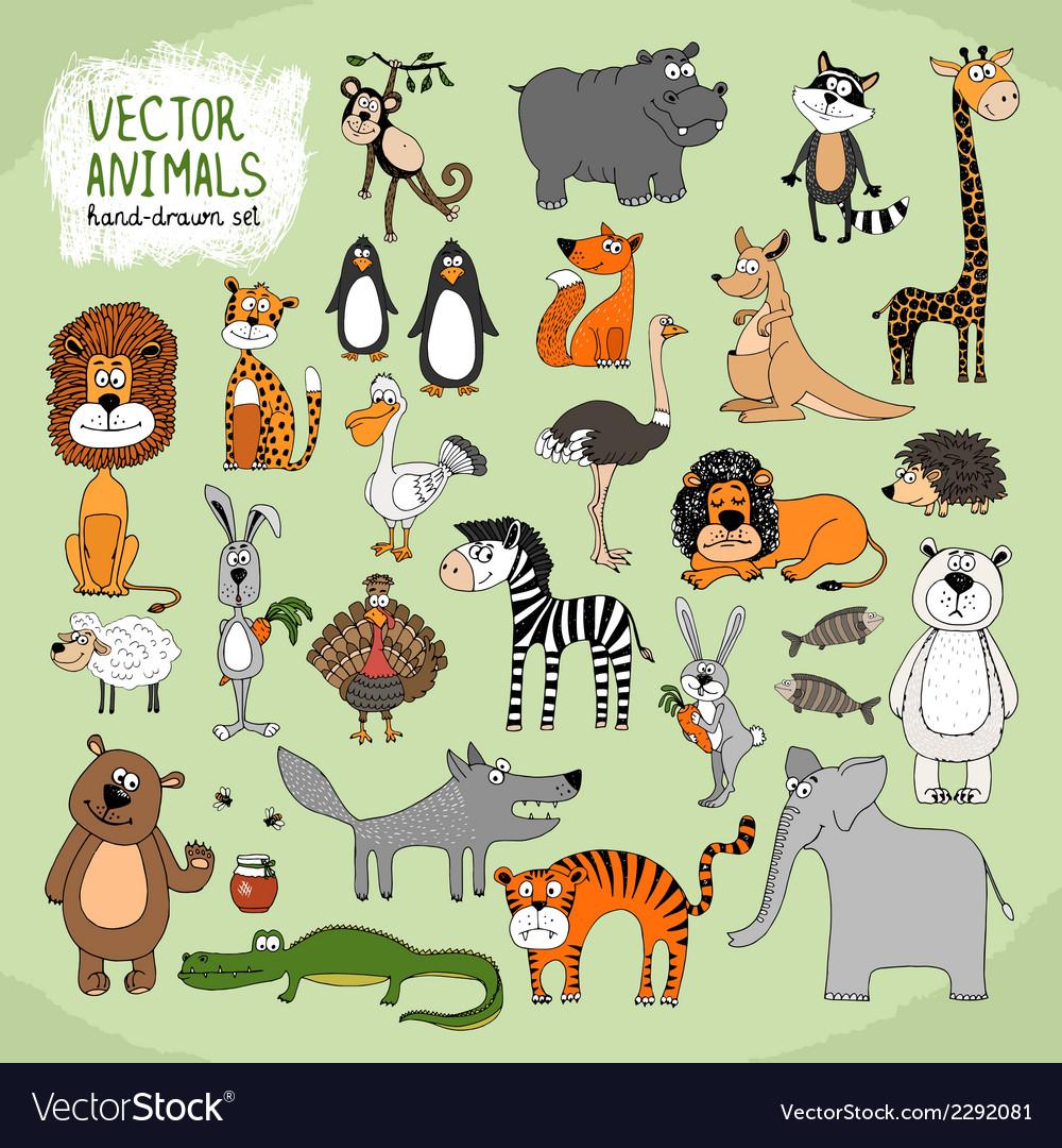 Hand-drawn wild animals collection