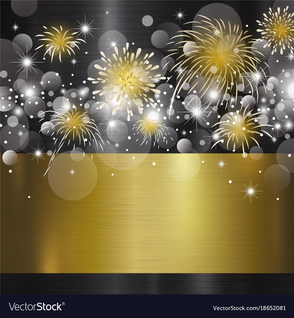 happy new year design on metal background vector image vectorstock