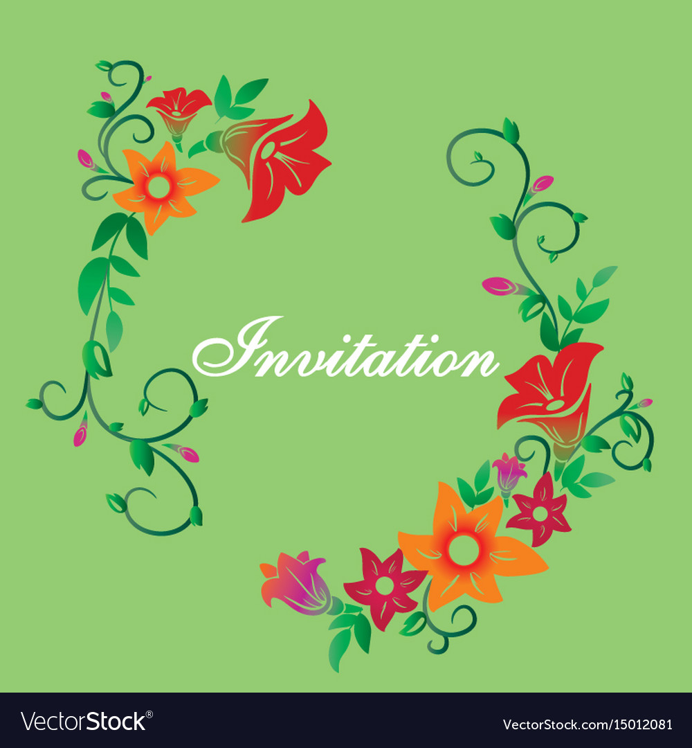 Invitation with flower ornament green