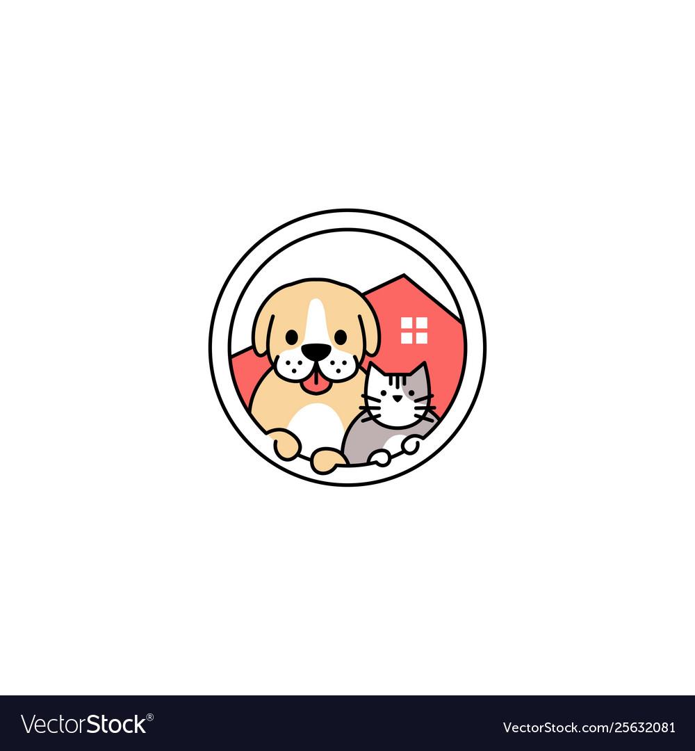 Pet dog cat house in circle logo icon