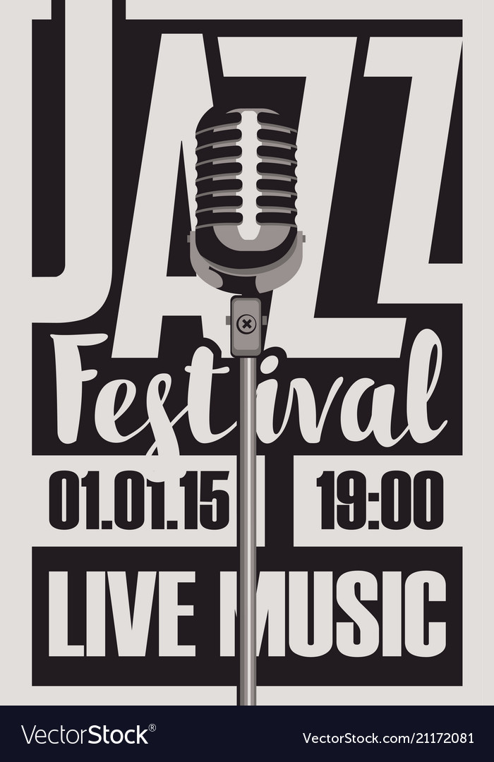 Poster for a jazz festival live music with a mic