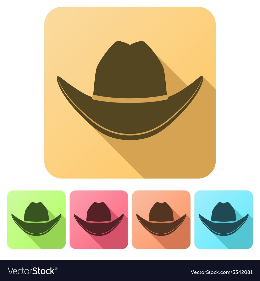 Set Flat icons of Black cowboy hat