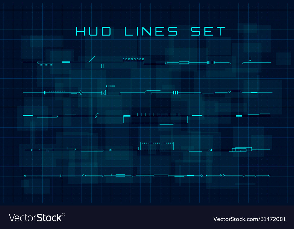 Set hud futuristic header footer and line
