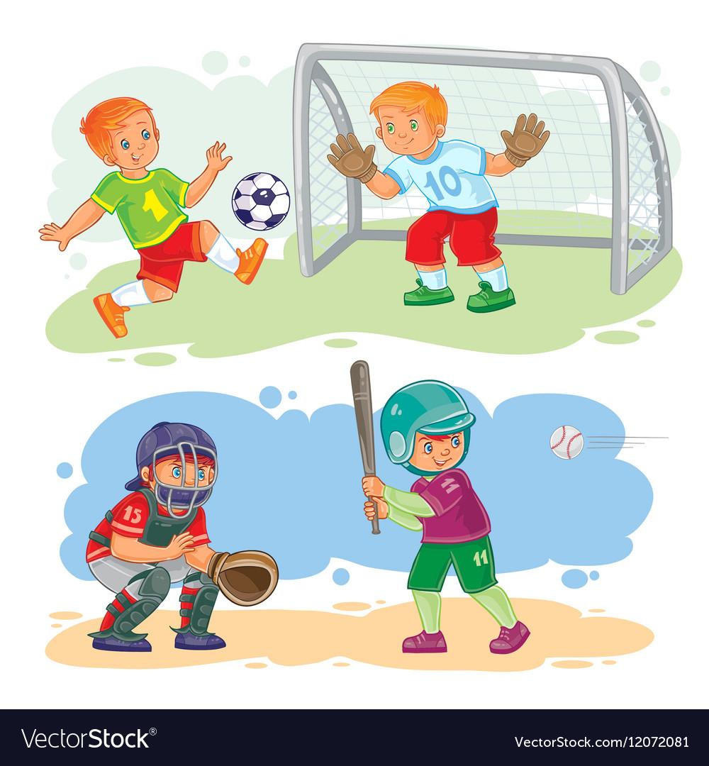 Set icons of boys playing football and baseball
