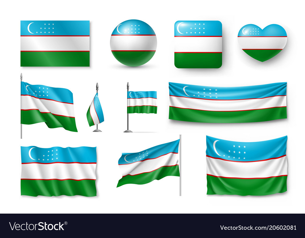 Set uzbekistan flags banners banners symbols vector image