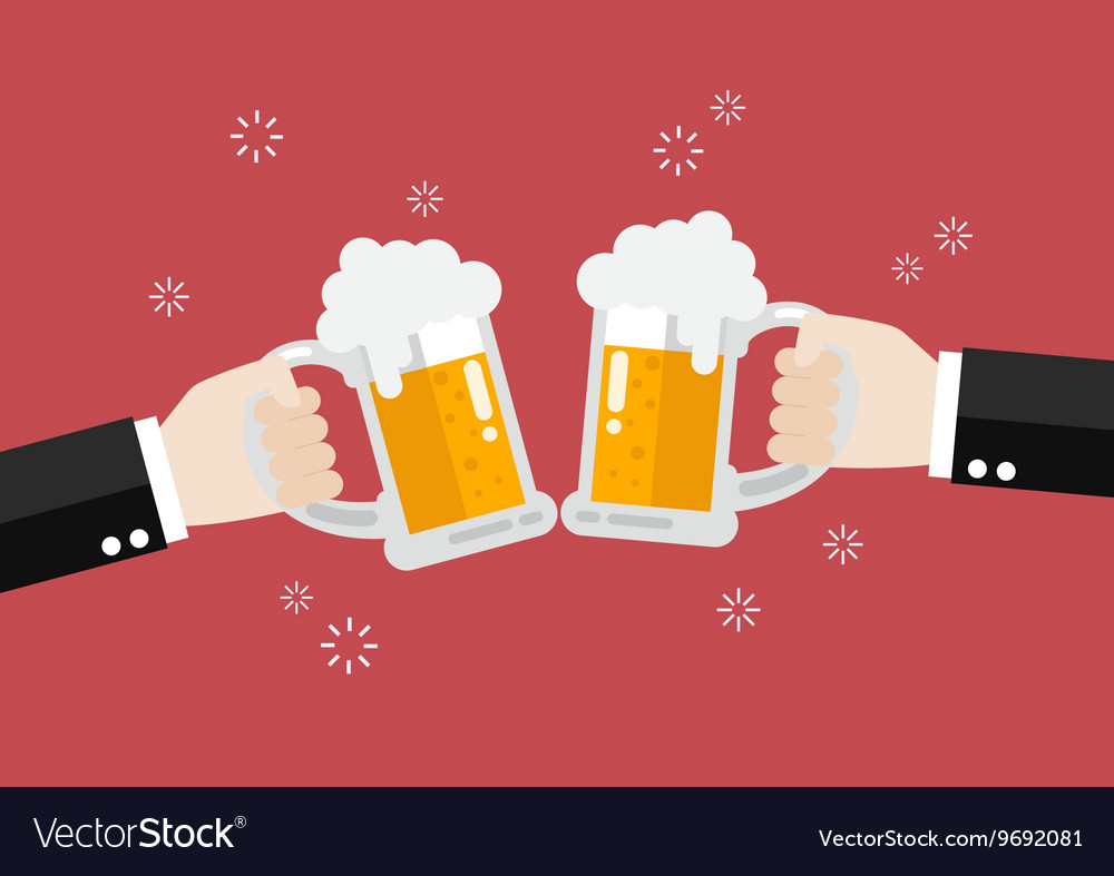 Two businessmen toasting glasses of beer vector image