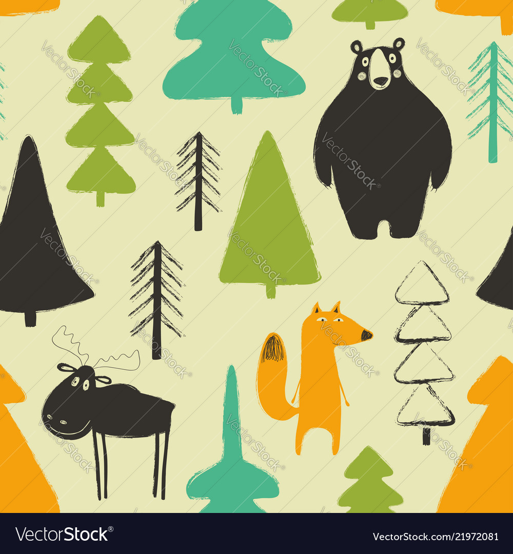 Wildwood seamless pattern with animals