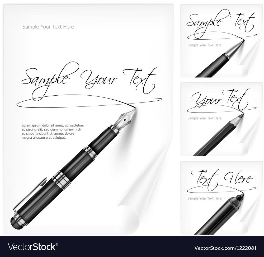 Writing tools and paper sheet vector image