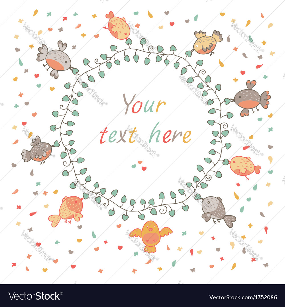 Cute background with birds vector image