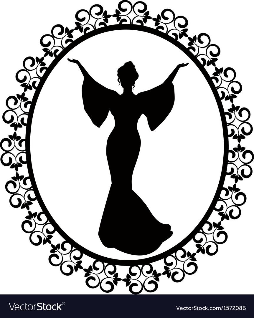 Diva in a carved vintage frame Royalty Free Vector Image