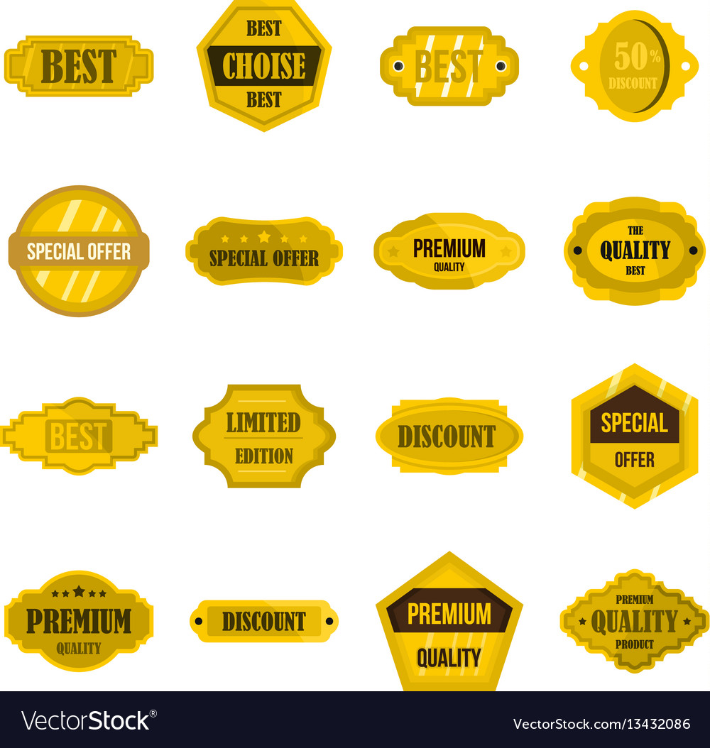 Golden labels set flat icons