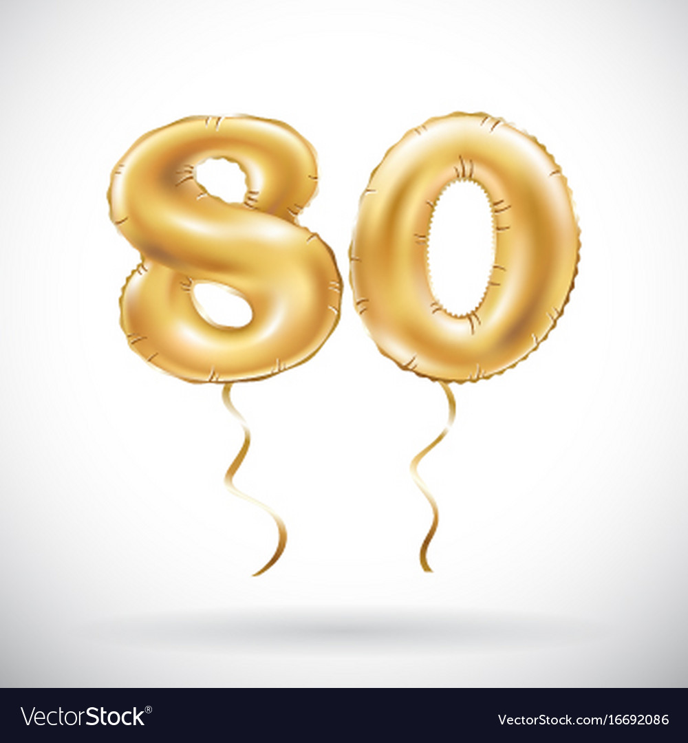 Golden number 80 eighty balloon party decoration