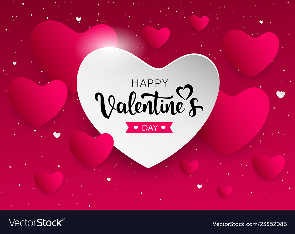 Happy valentines day pink and white heart banners