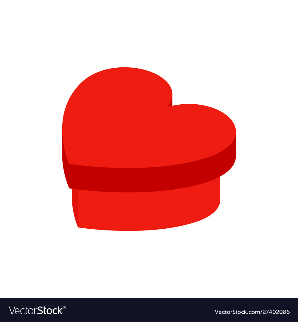 Heart present box isometric object