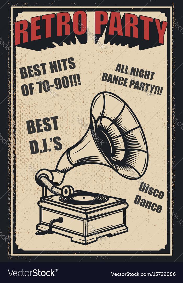 Retro party vintage gramophone on grunge