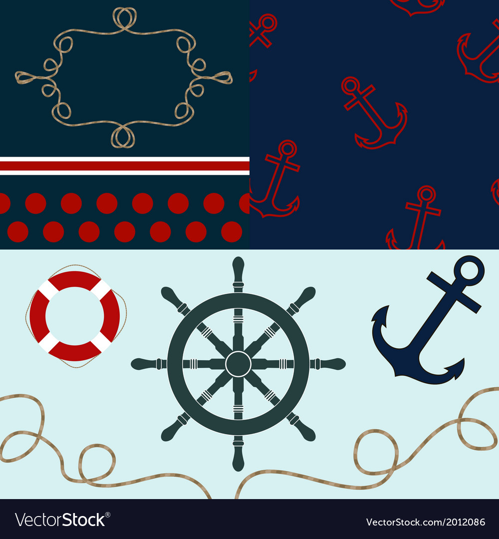 Sea theme elements for scrapbooking with textures