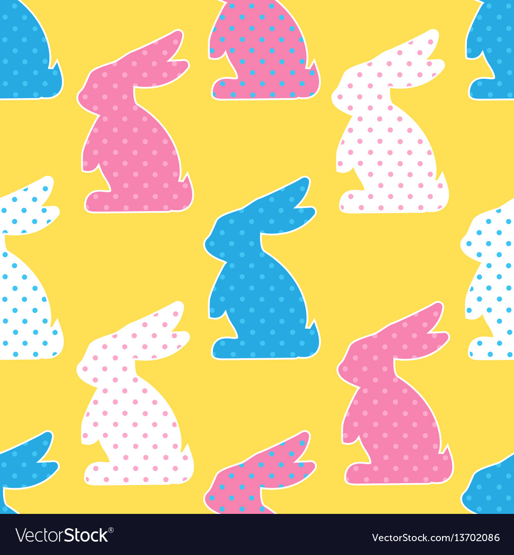 Seamless pattern with colorful rabbits on yellow