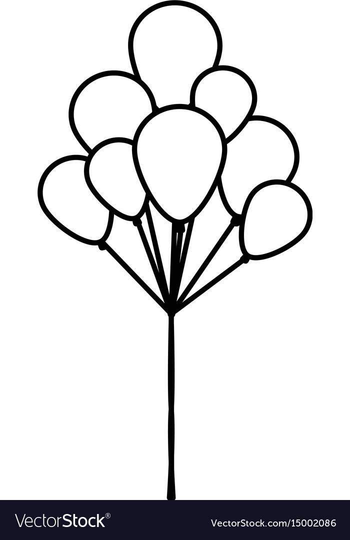 Set flying balloons decorative outline icon vector image