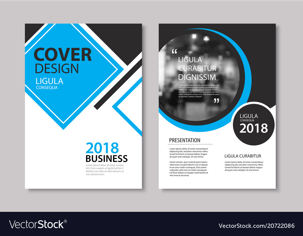 Set of blue cover and layout brochure flyer