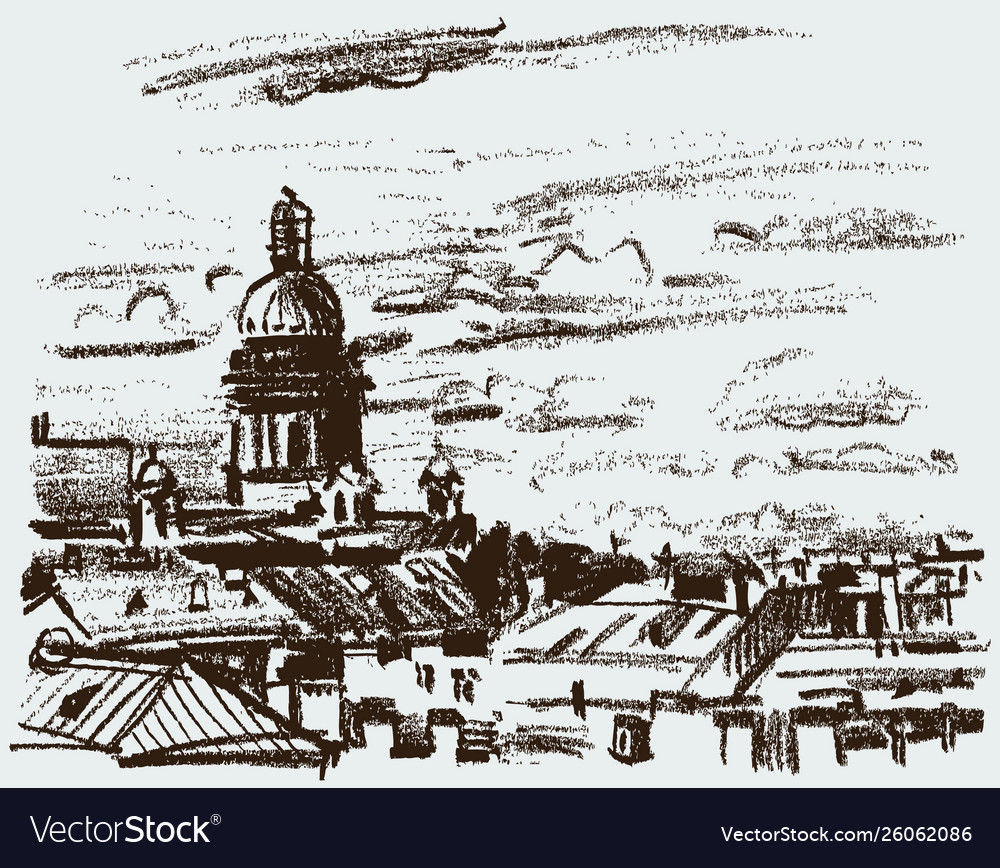 Sketch roofs european city