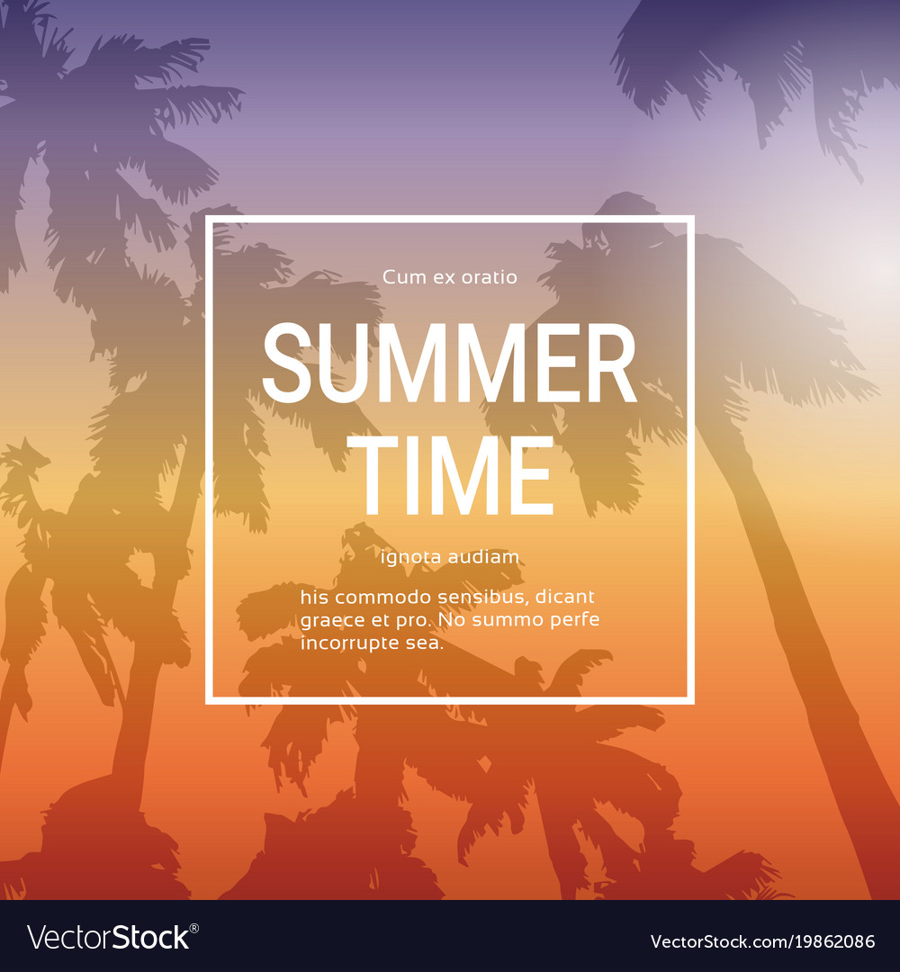 Summer time template poster background with palm