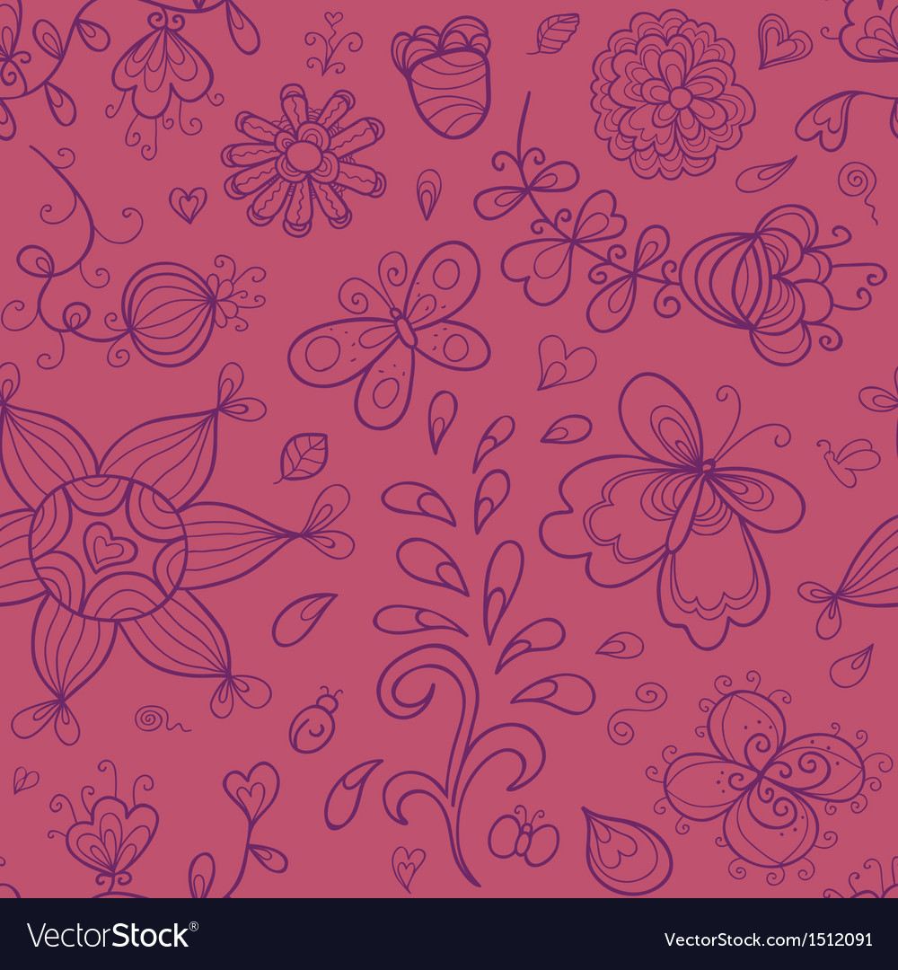 Abstract doodle floral seamless pattern in purple