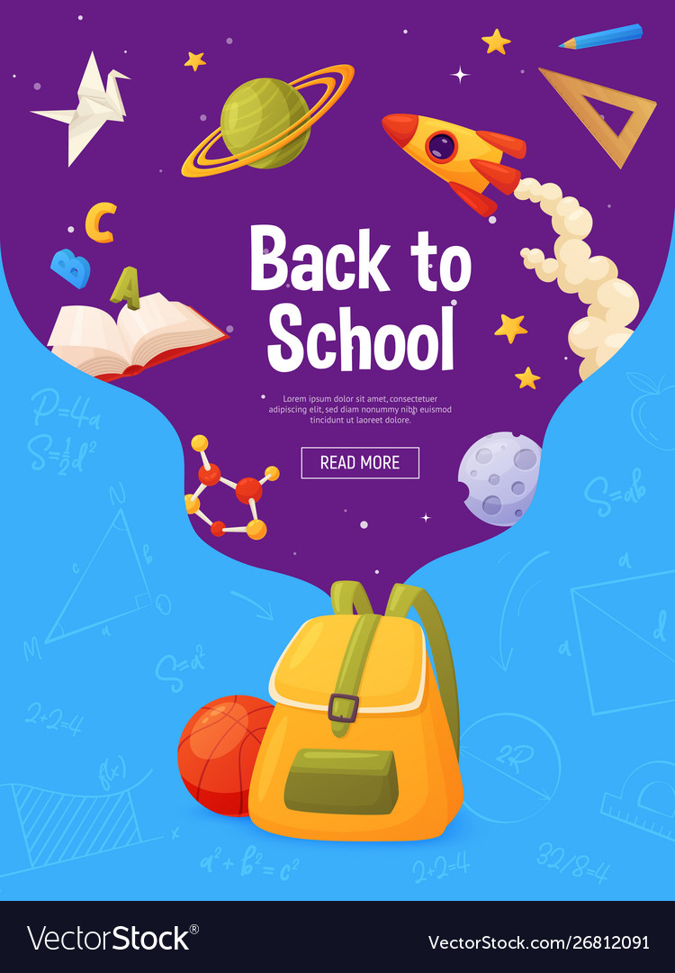 Back to school banner template for sale page vector