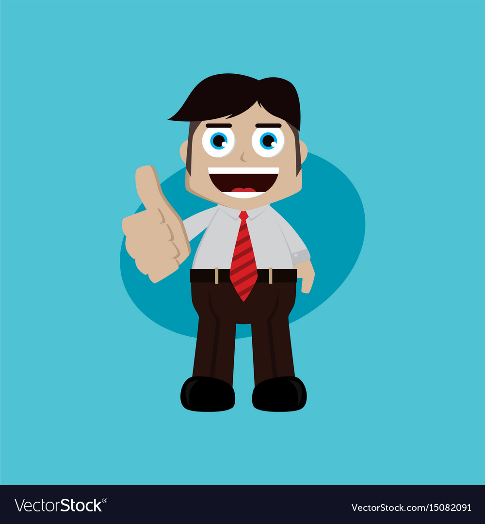 Businessman manager at work thumb up cartoon art