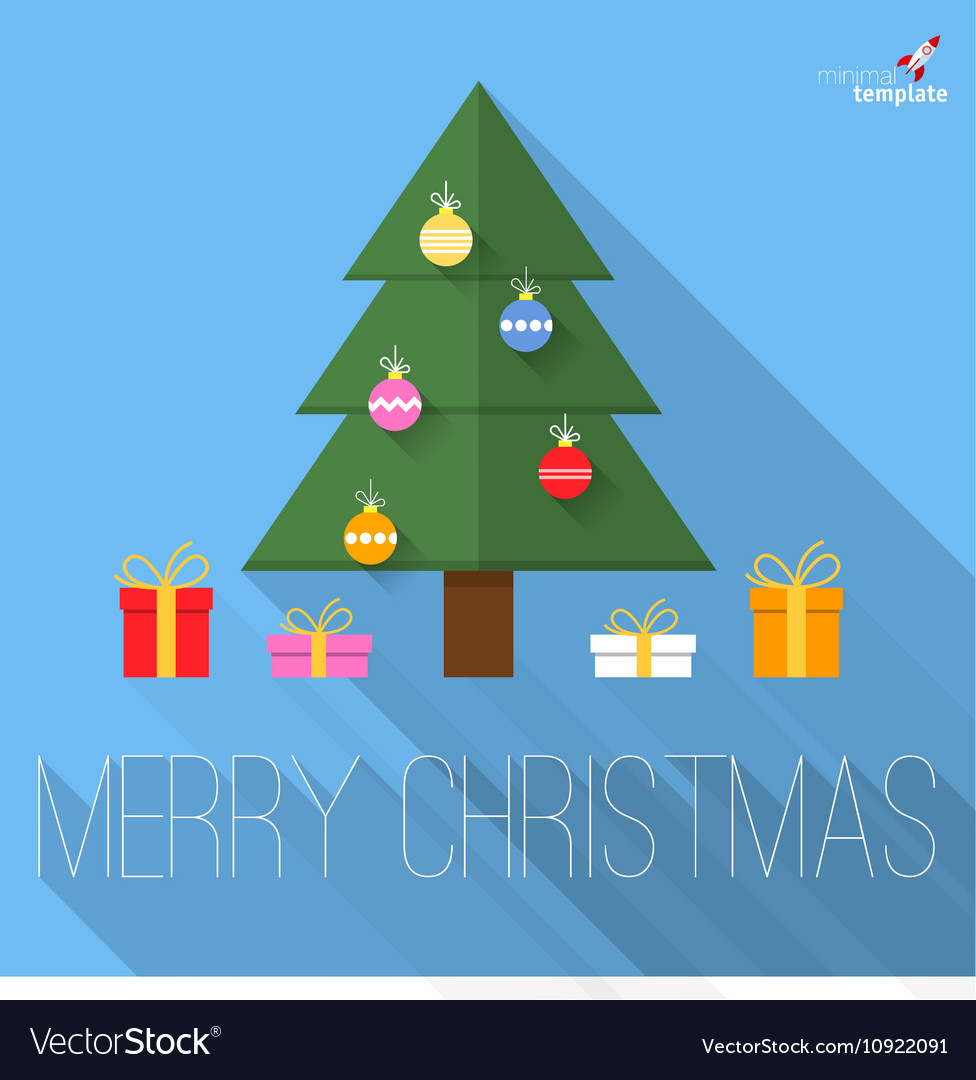 Christmas tree flat design greeting card