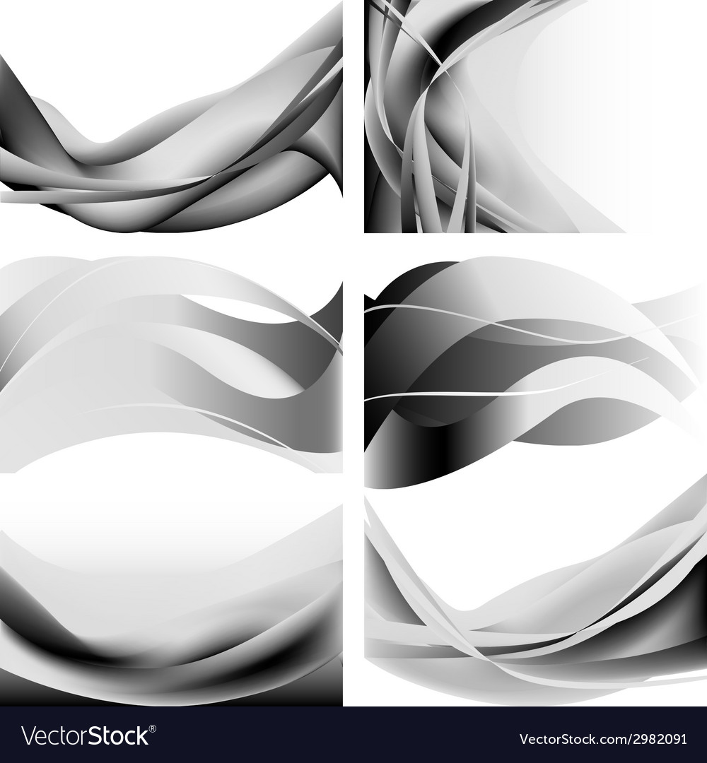 Gray abstract waves flames isolated set