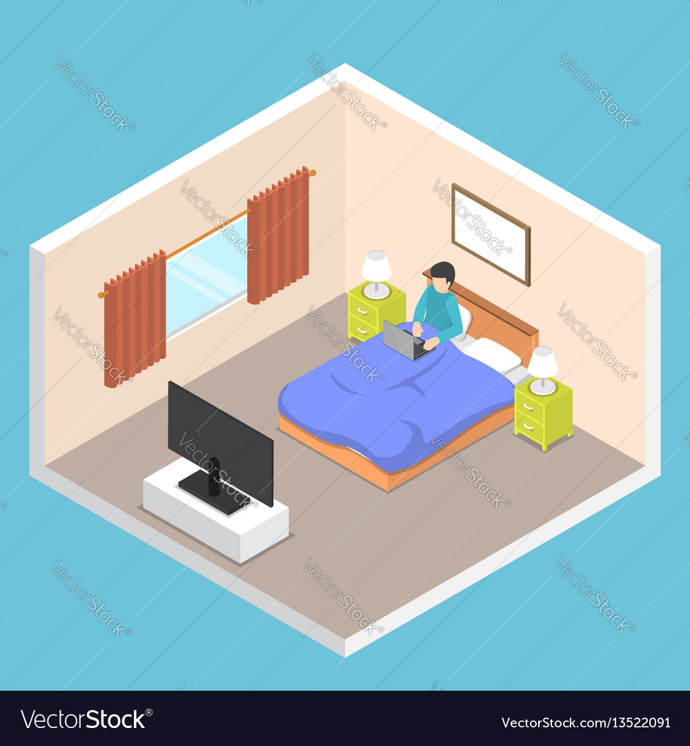Isometric businessman working on his laptop on