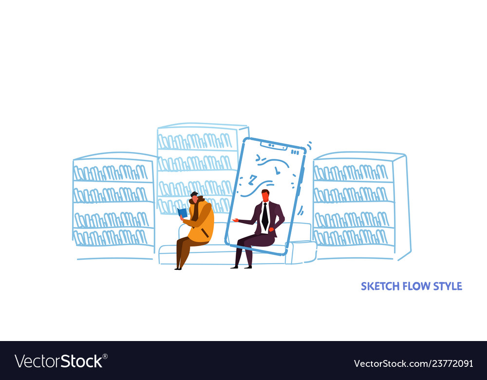 Two men sitting couch reading book and using