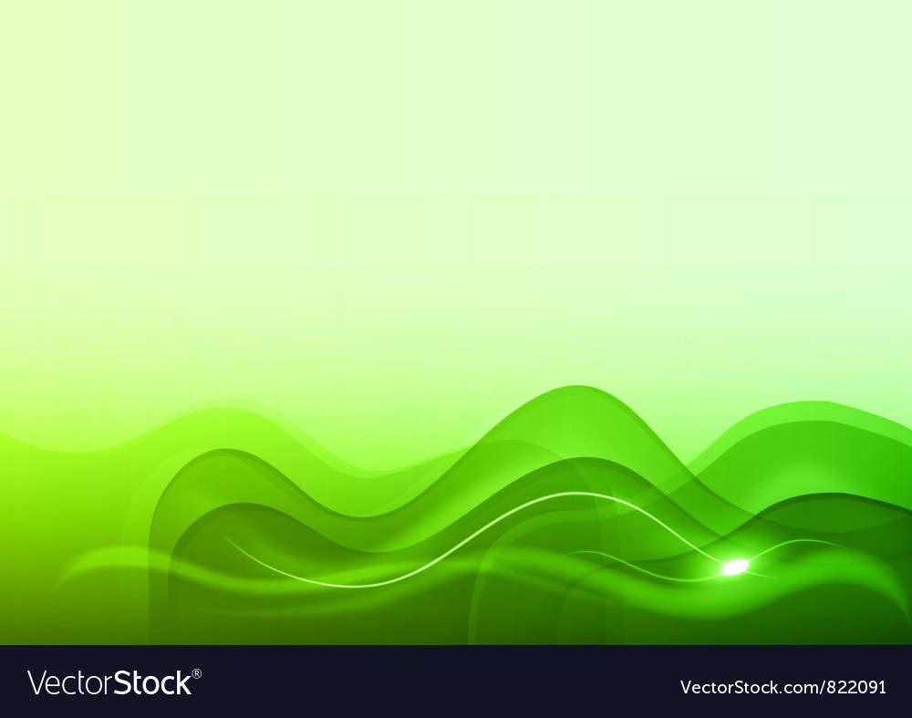 Wave neon light white green vector image