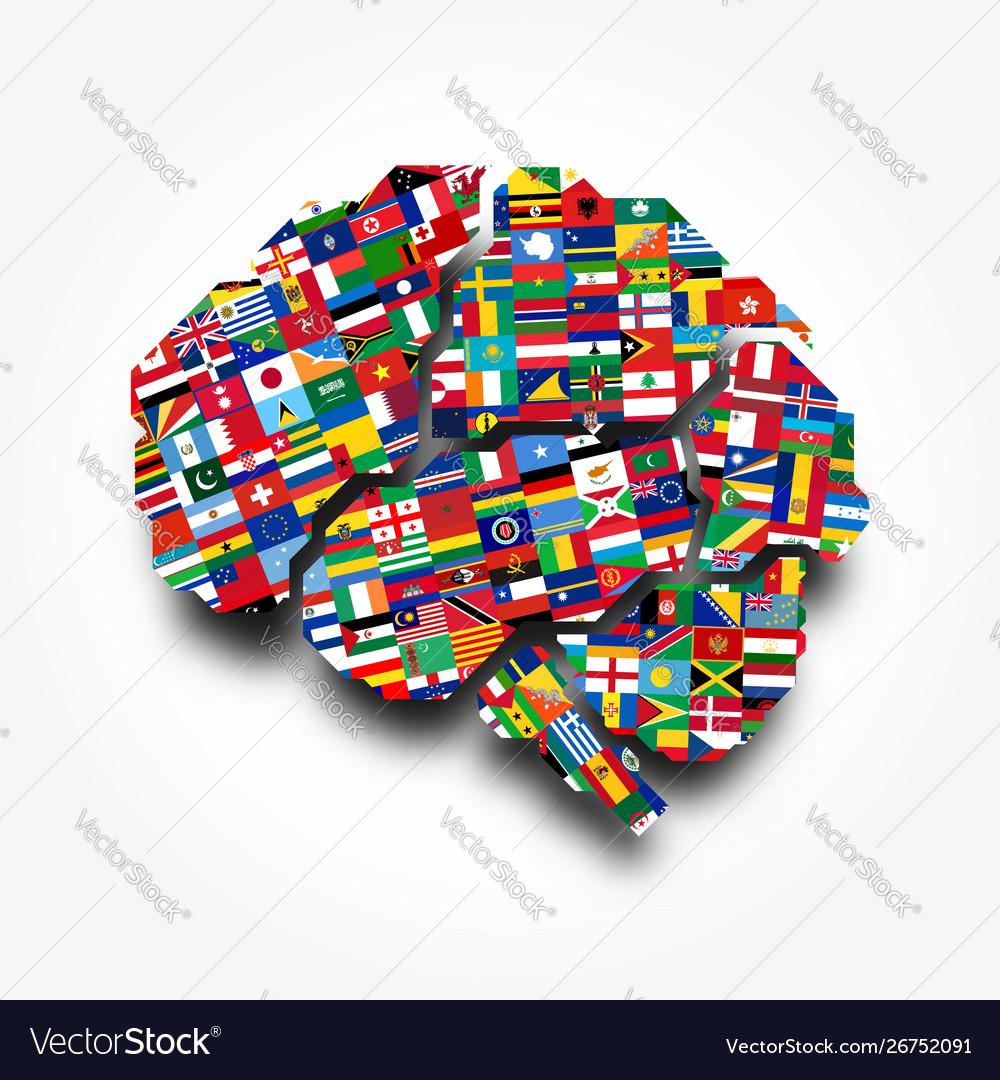 World flags and brain creative idea concept