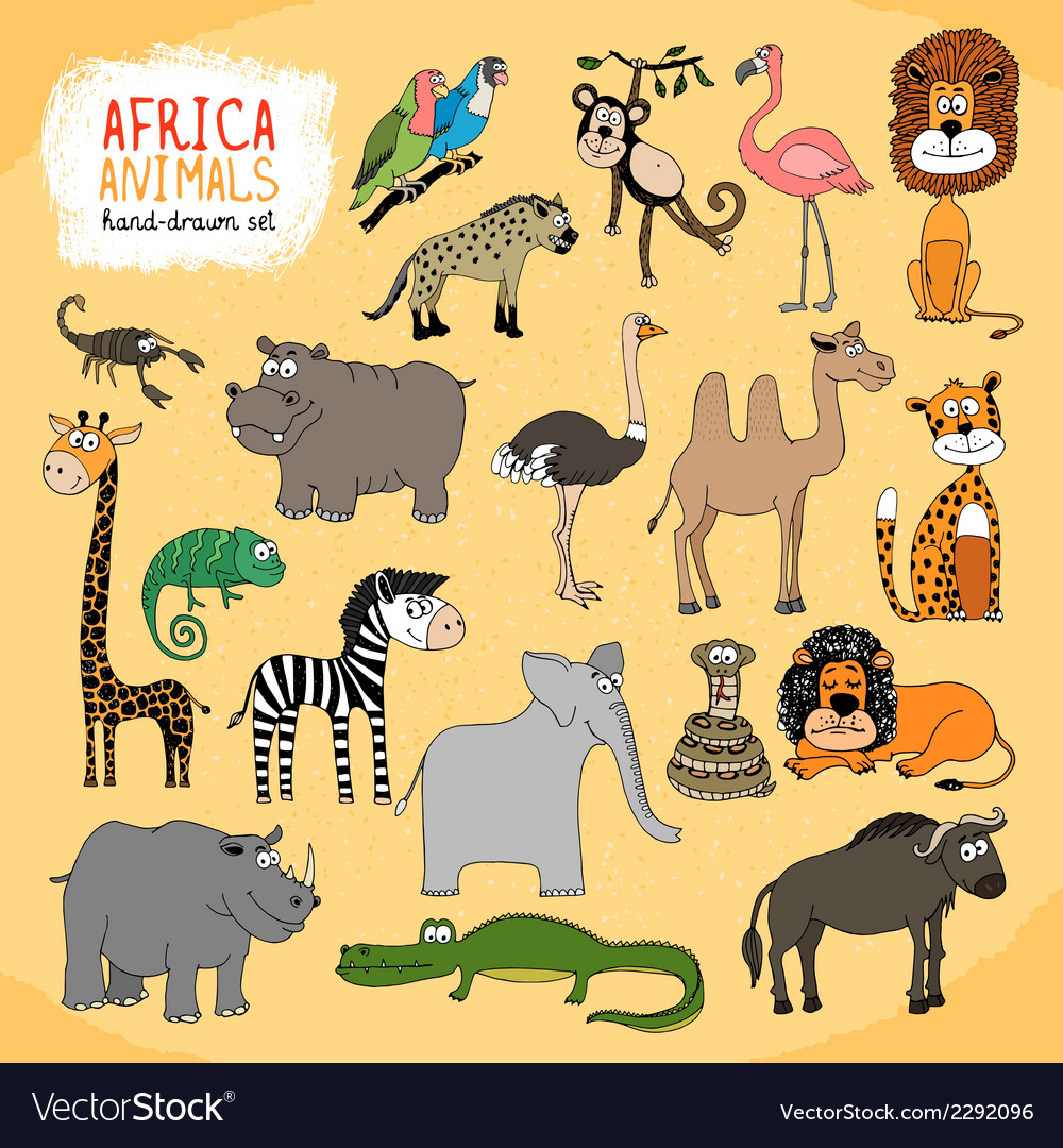 Animals of Africa hand-drawn