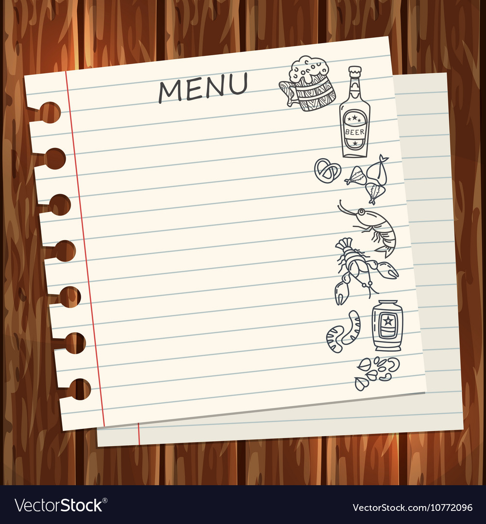 Beer menu template on wooden surface vector image