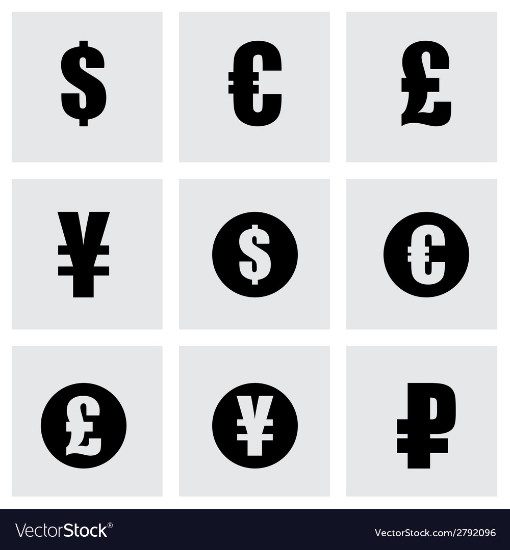Black Currency Symbols Icons Set Royalty Free Vector Image
