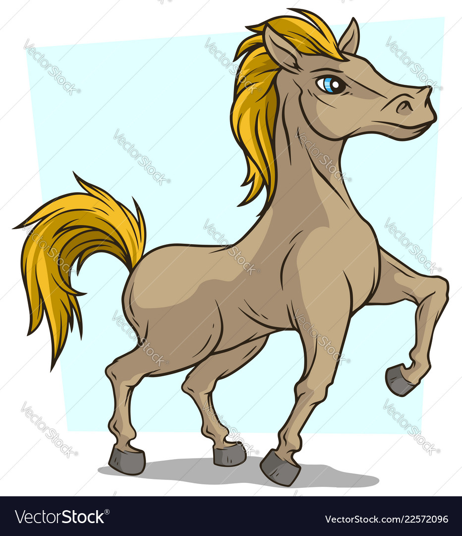 Cartoon cute little standing horse icon
