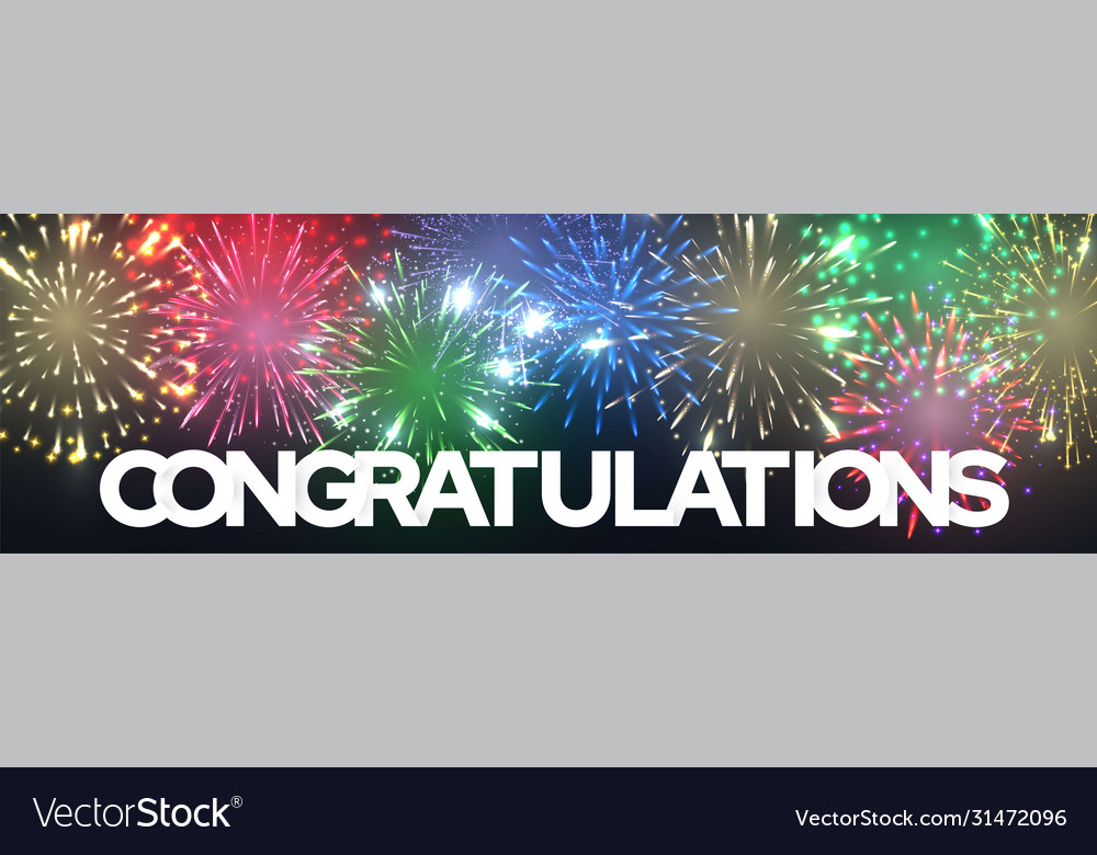 Congratulation greeting banner with firework