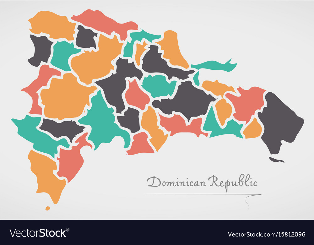 Dominican republic map with states Royalty Free Vector Image